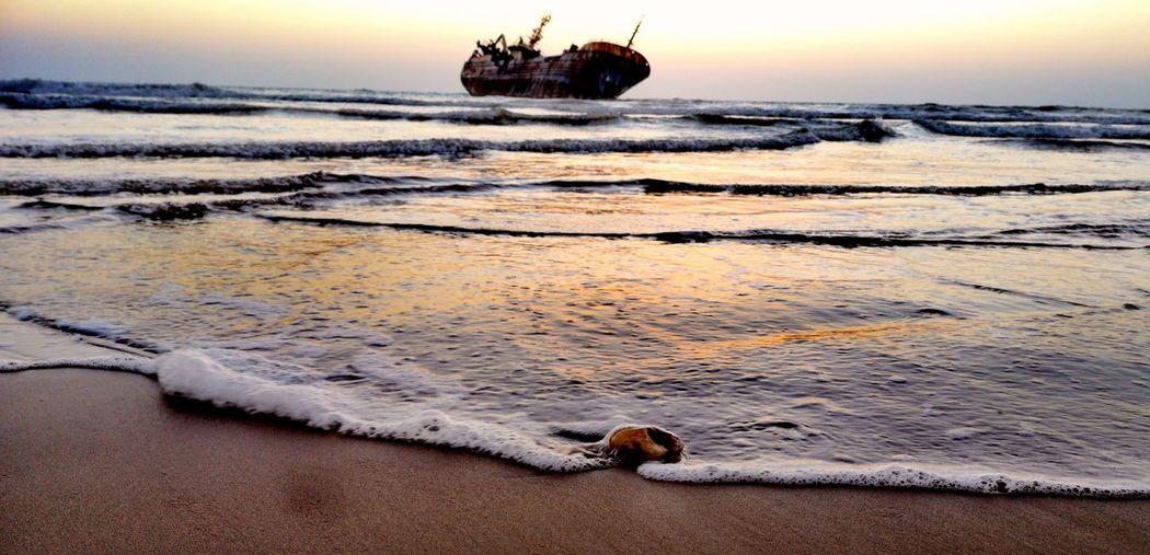 Sunset Water Beach Sea Abandoned Sky
