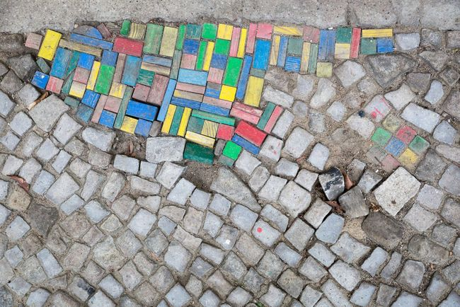 Cobblestone Cobblestones Colourful Toy Blocks Pavement Creative Pattern Capture Berlin Colour Of Life