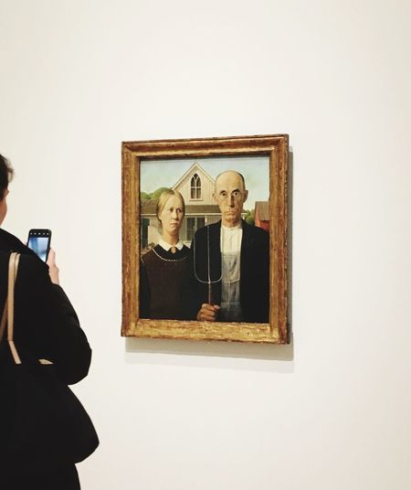 American Gothic Gawking American Gothic Whitney Museum, NYC Grant Wood Picture Frame Photography Themes Photograph Photographing
