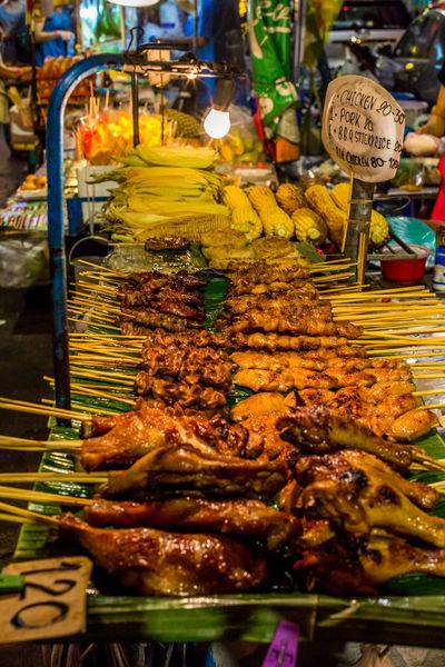 Streetfood BBQ at Khao San Road in Bangkok. Skewers Chicken Skewers Choice Food Food Stories For Sale Market Meat Streetfood Streetfood Bangkok Streetfood Thailand Variation