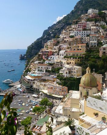 Amalfi Coast Italy Horizon Over Water Boats Church Church Architecture Facades Sea Beach Architecture Building Exterior House Outdoors Vacations Travel Destinations Cityscape Tourist Resort Landscape Town Sky Clear Sky Built Structure Water City High Angle View Day Nature No People Colour Your Horizn EyeEmNewHere