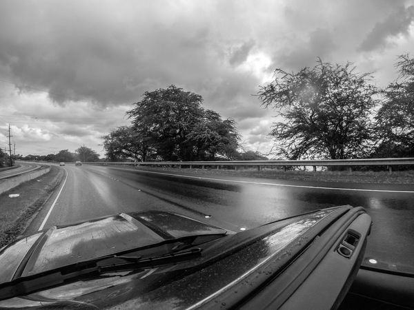 Rain or shine... Black And White Car Convertible Cruisin Day Ford Ford Mustang Having Fun Hawaii Land Vehicle Mustang Oahu On The Road Open Top Outdoors Rain Road Self Portrait Sports Car The Drive The Way Forward Transportation USA Windshield Let's Go. Together. Second Acts