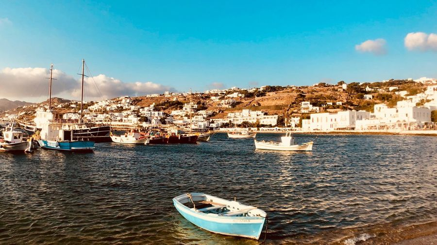 Harbour Boats Greece Sea Mediterranean  Mykonos Island Water Nautical Vessel Sky Transportation Mode Of Transportation Building Exterior Architecture Moored Nature Built Structure Day City Waterfront Cloud - Sky Travel Outdoors Sailboat