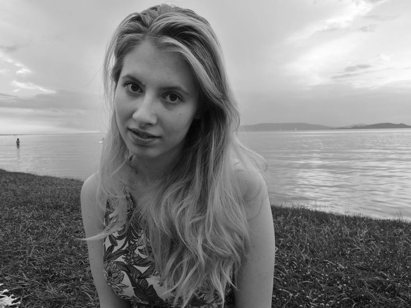 Portrait Young Women Young Lady Portrait Of A Woman Portrait Photography Best EyeEm Shot Looking In Your Eyes Beautiful Woman Beautiful Girl Blackandwhite Black And White Portrait Grayscale Minimalism Fine Art Photography Water Beach Sky Horizon Over Water Storm Cloud Forked Lightning Dramatic Sky