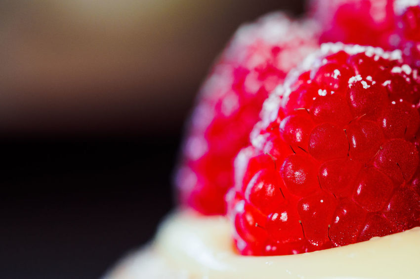 Raspberries anyone? Berry Fruit Black Background Cake Close-up Dessert Focus On Foreground Food Food And Drink Freshness Fruit Healthy Eating Indoors  No People Raspberry Ready-to-eat Red Ripe Selective Focus Still Life Sweet Sweet Food Temptation