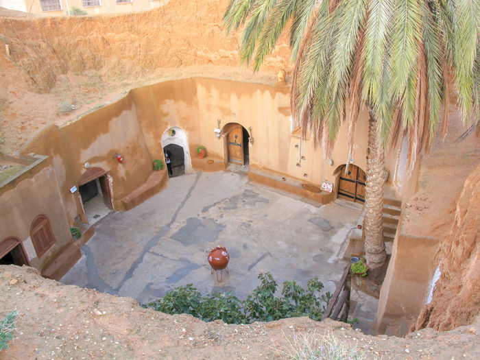 Tunisia Traditional houses, holidays Architecture Built Structure Plant Nature Tree Palm Tree Day Building Exterior Tropical Climate High Angle View Building No People Water Outdoors The Past History Arch Wall - Building Feature Sunlight Well