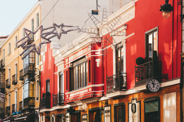 Architecture Building Exterior Building Feature Built Structure Calle Ancha Christmas Lights City Day LeonEsp  No People Outdoors Red SPAIN Street Traditional Travel Destinations Travel Photography