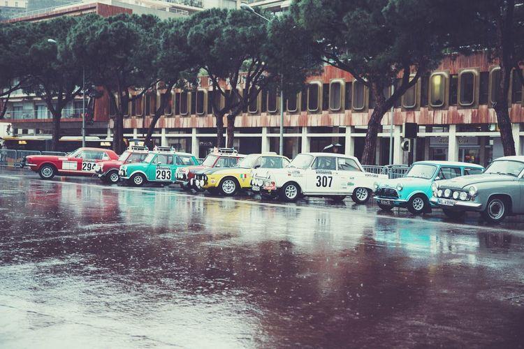 Cars on street in rain