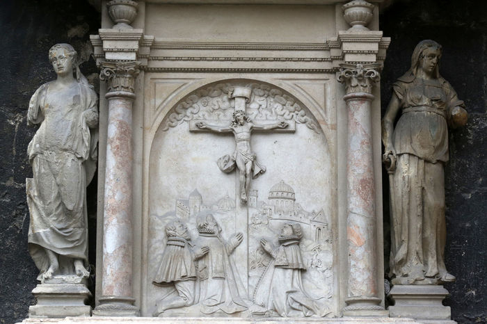 An old crucifixion relief sculpture outside St. Stephen's Cathedral in Vienna, Austria on October 10, 2014 Art Art And Craft Austria Calvary Carving Carving - Craft Product Cathedral Christ Christianity Creativity Crucifixion Faith Historic History Jesus Relief Religion Sacred Saint Savior Spirituality Statue Stephen Vienna Worship
