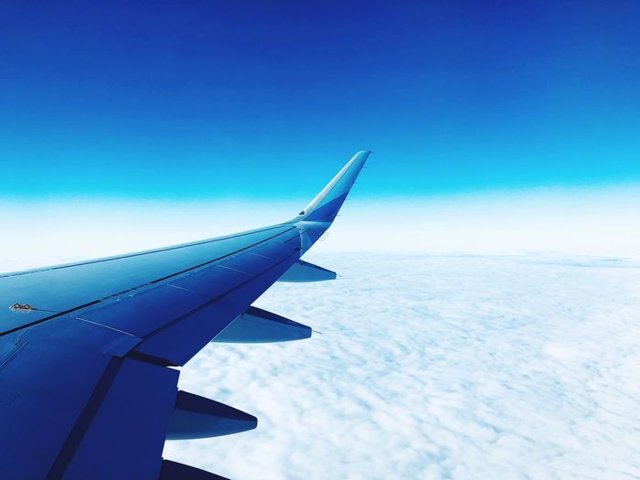 Air Vehicle Airplane Sky Transportation Aircraft Wing Mode Of Transportation Blue Flying Cloud - Sky