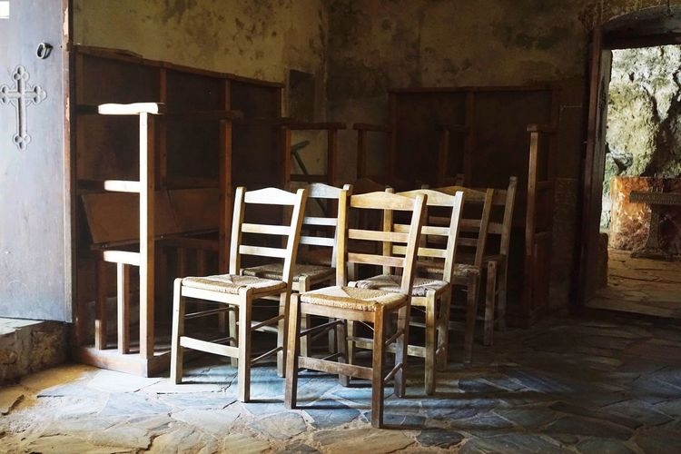 Chair Indoors  Wood - Material Architecture No People Built Structure Absence Home Interior Open Door Day greece crete kolimbari