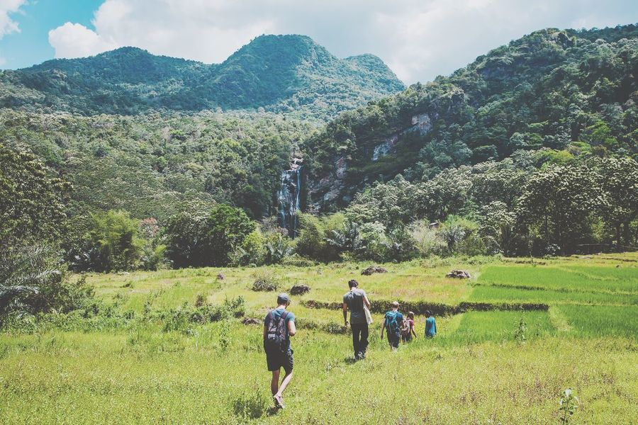 Indonesia's untamed nature, simply extraordinary! Real People Nature Growth Mountain Rear View Beauty In Nature Landscape Lifestyles Green Color Hiking Tree Tranquil Scene Leisure Activity Men Scenics Day Tranquility Outdoors Women Sky (null)INDONESIA Flores Bali Canon 1d Mark Iv
