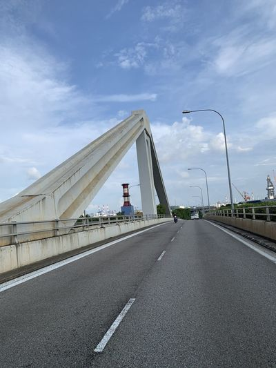 Bridge over highway against sky in city