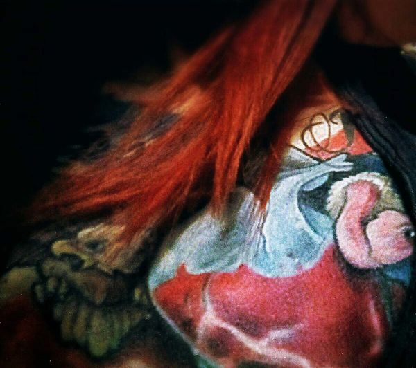 Chest Tattoo Close-up Colortattoo Detail Eagle Glassheart Blood Redhead Tattoo Tattooedgirl Vulture Story Of My Life Half Full, Half Empty Tattoo Life