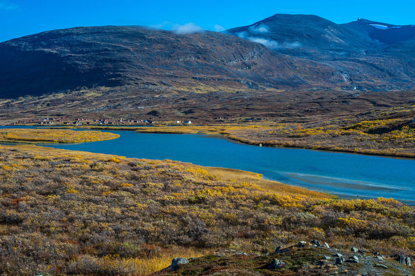 September hiking along The King's Trail in northern Sweden Autumn Blue Cabins  Day Europe Hiking Kungsleden Lake Landscape Laponia Mountain Mountain Range Nature No People Northern Europe Outdoors Remote Rock Formation Scandinavia September Sweden The Kings Trail Tourism Travel Water