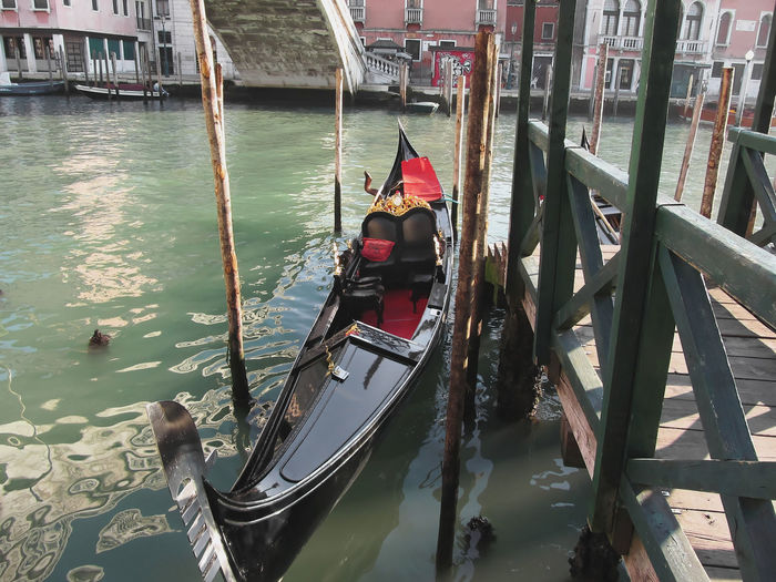 Gondola moored in grand canal