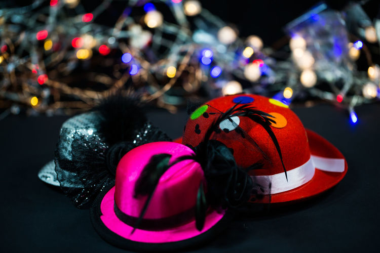 Christmas Decoration Close-up Focus On Foreground Illuminated Indoors  Multi Colored Night No People Party, Sylvester, Hat, Party Hats