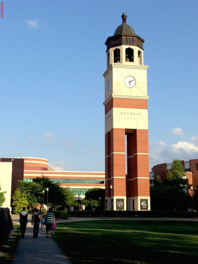 Architecture Blue Building Exterior Built Structure Clock Tower Day Famous Place Footpath Kentucky  Lawn Local Landmark Modern Outdoors Person Sky Tall Tall - High Tourism Tower Travel Destinations WKU Western Kentucky University