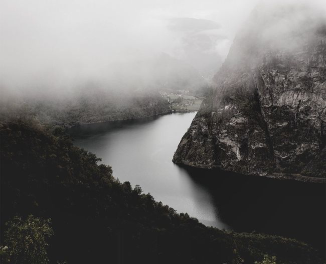 Into the mystic. Nature Water Beauty In Nature Scenics No People Tranquility Tranquil Scene Outdoors Fog Day Mountain Sky Tree Lake Norway Scandinavia Dramatic Lost In The Landscape