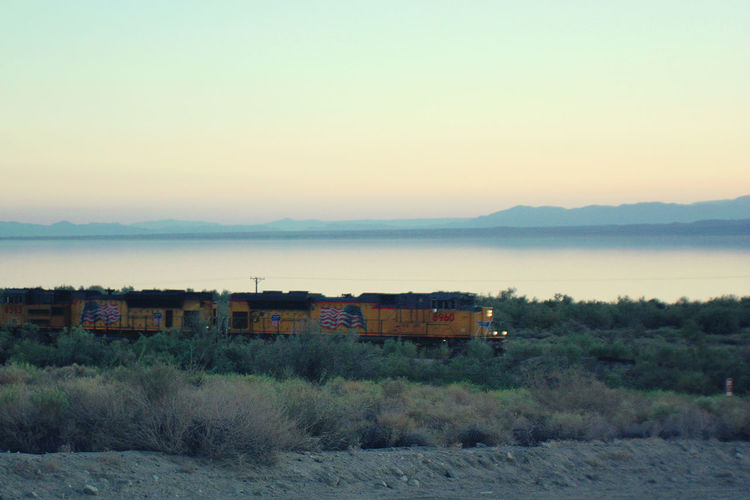 Desert Salton Sea Desert Landscape Freight Train Locomotive Mountain Outdoors Sunset Train
