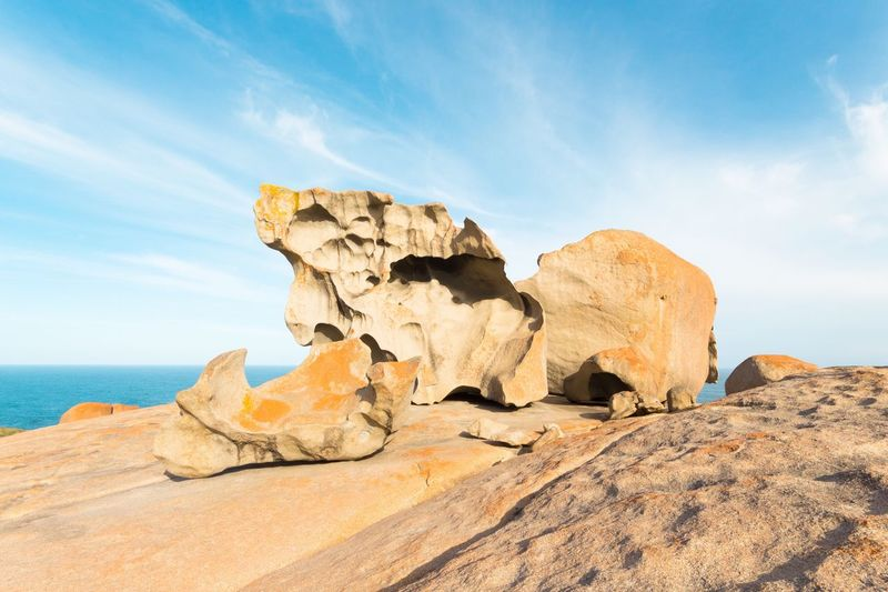 Rock Formations At Kangaroo Island Against Sky