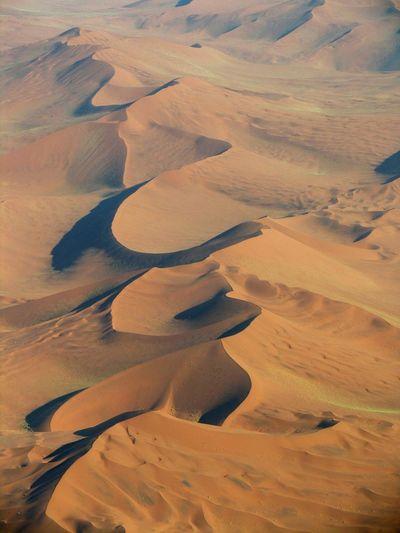 High angle view of sand dunes at namib desert