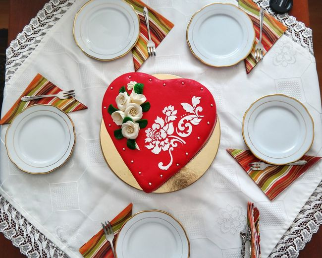 Cake Heart Home Birthday Birthday Cake Plates Hungary Miskolc Celebration Drink Plate Drinking Glass Table Celebration Textile High Angle View Red Close-up Sweet Food Tablecloth