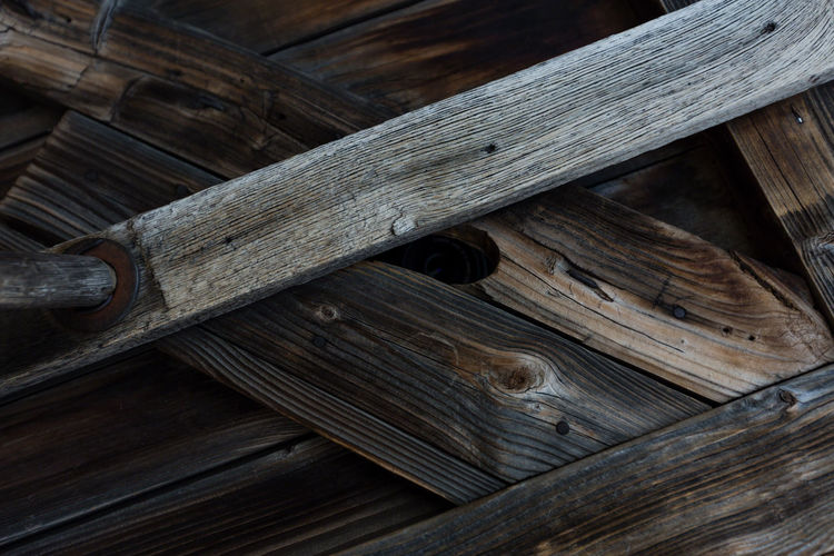 High angle view of wood on wooden table