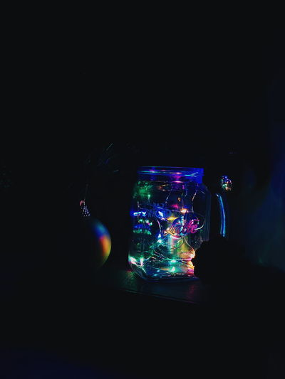 Illuminated light painting at night