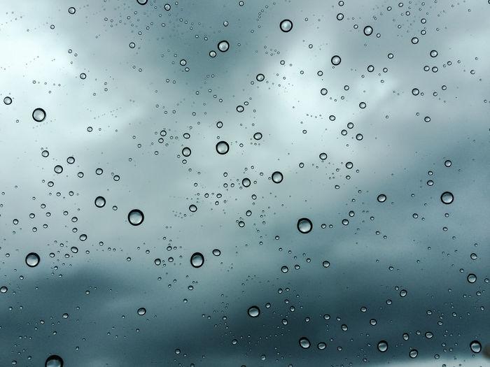 Full frame shot of water drops on window