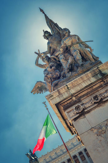 Statue of Fatherland Altar - Rome, Italy Altar Altare Della Patria Rome Architecture Art And Craft Day Fatherland Flag History Human Representation Italy No People Outdoors Patriotism Sculpture Sky Statue
