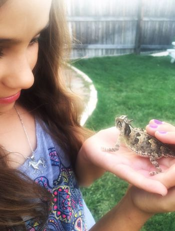 "This little horned toad, or as they're better known here in Texas ""horny toad"" was in the backyard and the cat was trying to attack it, so the girls picked him up so they could release him somewhere safe. These are almost non existent nowadays, and protected, but have been making making a comeback the last few years. You have to have a special permit in order to keep them. Texashornedtoad Hornytoad Daughter Mywholeheart Mywholelife Shesnotscared Girl Power"