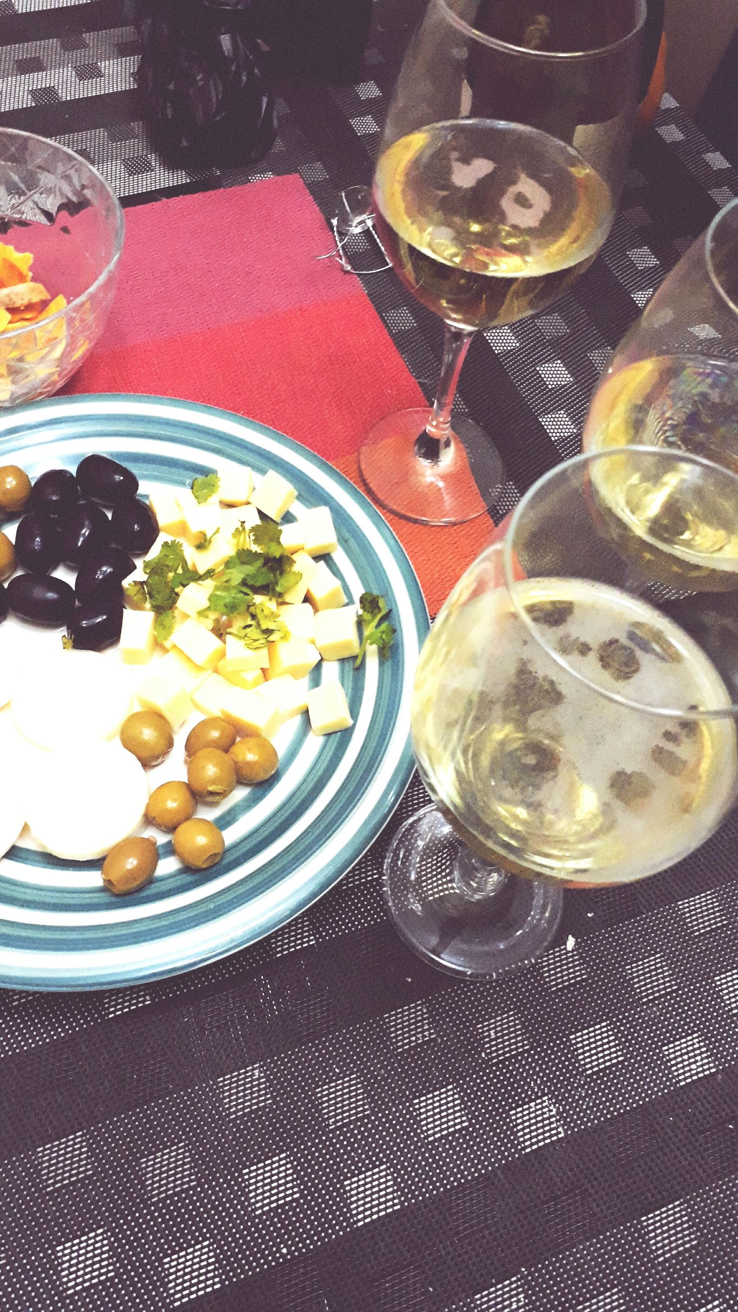 food and drink, drink, table, drinking glass, refreshment, alcohol, indoors, no people, freshness, plate, healthy eating, food, high angle view, wineglass, serving size, tablecloth, wine, day, ready-to-eat, close-up