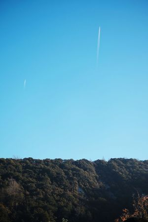 Outdoors No People Nature Day Airplane Plane Aviation Sky Blue Sky Blue Forest