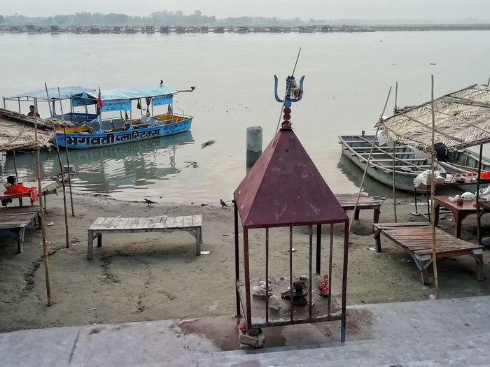 Shivalay Ganges River Bhola Shiva Nature Morning Water Nautical Vessel Beach Wood - Material Sky