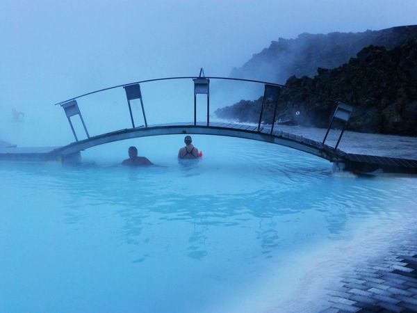 The Blue Lagoon. Enjoying the Thermal Hotspring in Iceland Outdoors Leisure Activity Geothermal  Geothermal Spa Bridge - Man Made Structure Real People Enjoyment Water Vacations Nature Idyllic Tranquil Scene Tranquility Beauty In Nature Iceland_collection My Travels