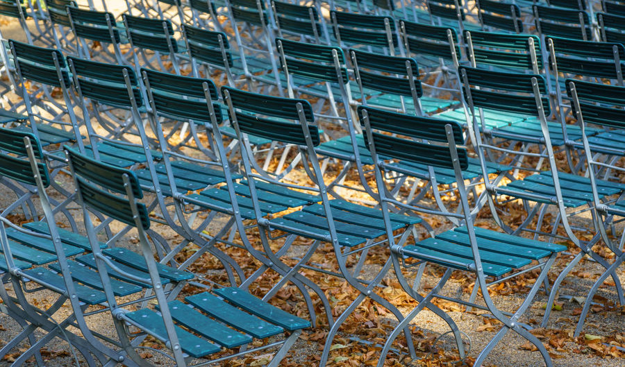 Full frame shot of chairs at autumn time