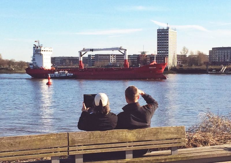 Ship spotting IPhoneography Taking Photos Of People Taking Photos Ship Vessel Welovehh Hamburg Hamburg Harbour Photographer River Elbe Water Couple