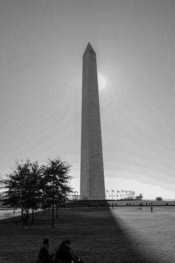 Washington monument in shadow Blackandwhite Monochrome Sun City Tree Pyramid History Architectural Column Sky Architecture Built Structure Travel Memorial Monument Tower