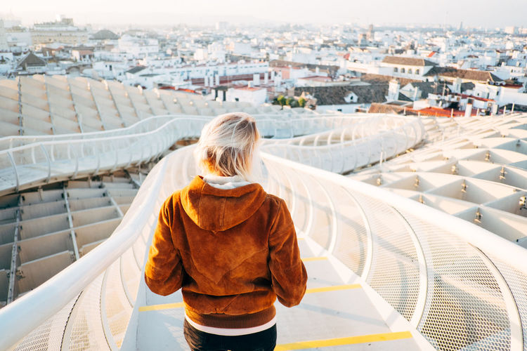 Sevilla / Spain EyeEmNewHere Metropol Parasol SPAIN Sevilla The Graphic City Adult Adults Only Architecture Blond Hair Building Exterior Built Structure City Cityscape Day Lifestyles One Person Outdoors People Plaza De España Real People Rear View Sky Standing Women
