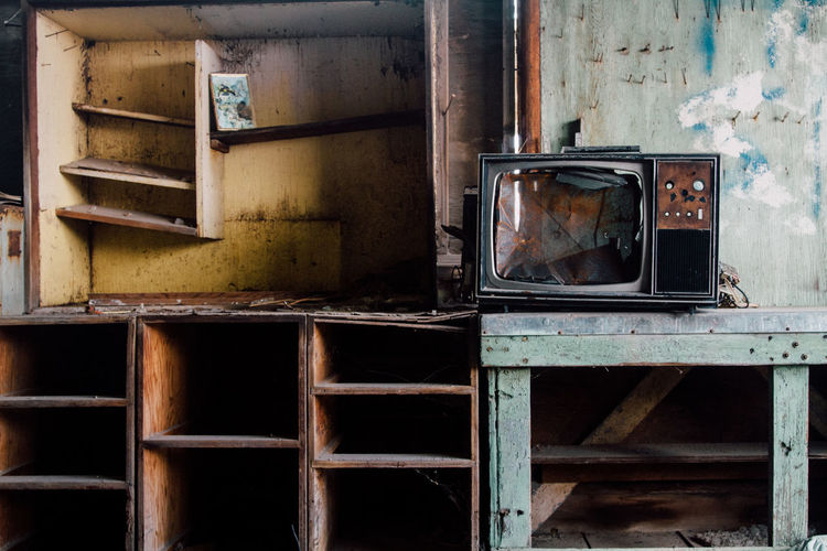 View of an abandoned television