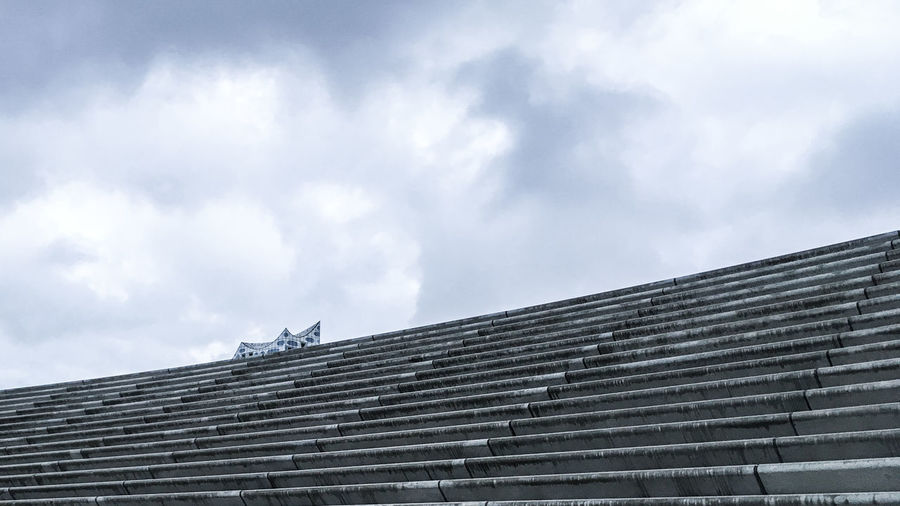 Low Angle View Of Steps Against Cloudy Sky