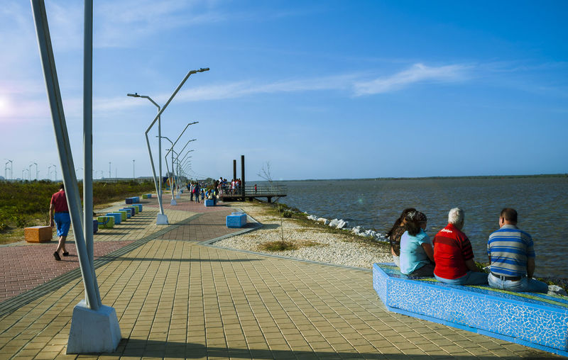 Rear view of people sitting on sea shore against sky