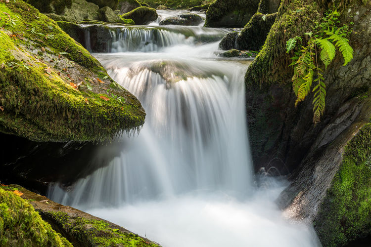 Long exposure of a waterfall on the hoar oak water river at watersmeet in exmoor national park