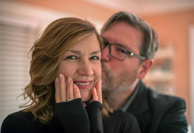 Close-up of happy couple at home