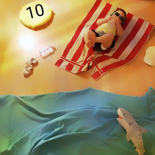 Textile Baby Baby Girl Baby Art Baby Summer Sea Summertime Beach Carpet Carpet Art My first day in th beach... OMG this waters have sharks!!! I prefer my Teddy bear... Nice Summer for everyone!