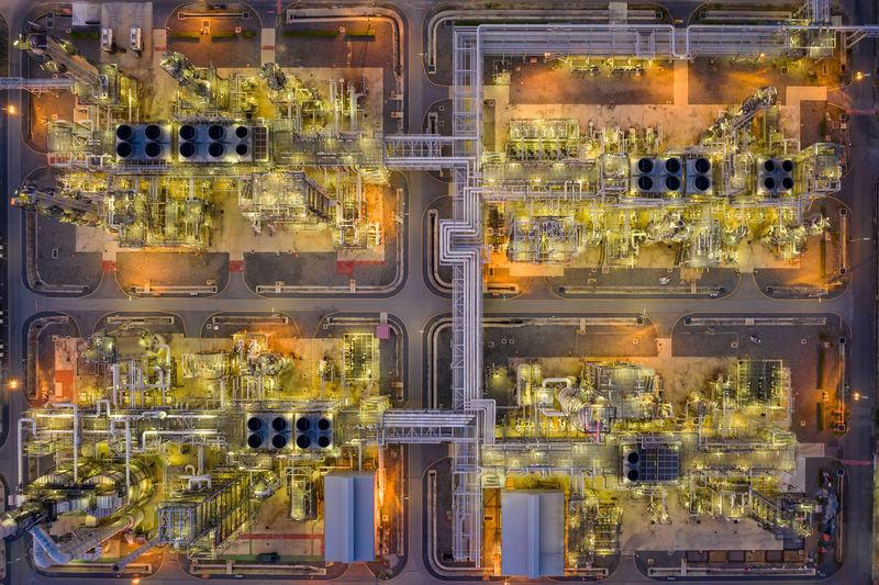 High angle view of illuminated lighting equipment in city