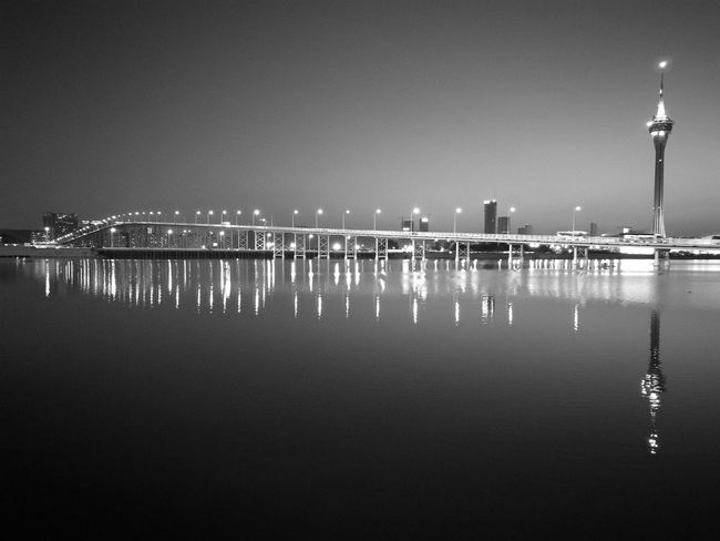 HuaweiP9 Travel Destinations Calm Serenity Blackandwhite Reflection Light And Shadow Bridge - Man Made Structure Man-made Structure Nightphotography Leicagraphy Leicaexplorer Macau Traffic Lighta In A Row Reflection Sea Water Nautical Vessel Outdoors No People EyeEmNewHere