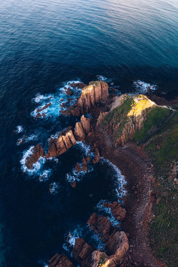 Cape Woolamai IG @noeldxng Australia Landscape Coast Beach Beauty In Nature Contrast Colour Orange Color Rock Formation Nature Victoria No People Water Sea High Angle View Drone  Aerial View Non-urban Scene Outdoors Phillip Island 17.62°