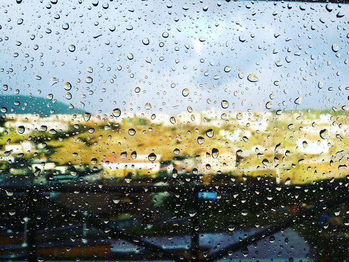 Rainbowing 🌈 Raimbow Laquila Abruzzo Drop Backgrounds Full Frame Window Wet No People Water Sky